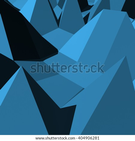 Abstract blue faced 3d rendered geometry background - stock photo