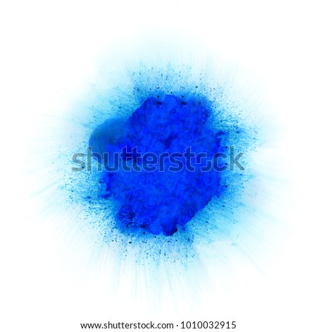 Abstract blue fire explosion with sparks isolated on white background