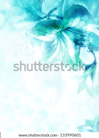 Abstract blue flower card/ Beautiful flower background/ Spring background - stock photo