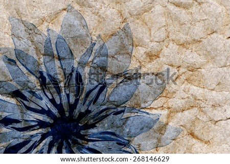 abstract blue flower grunge paper background
