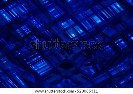 Abstract blue fractal background with various color lines and strips. elegant illustration