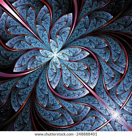 abstract blue fractal, digital artwork, illustration - stock photo