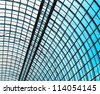 abstract blue glass ceiling inside shopping mall - stock photo