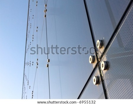 Abstract blue glass of window of panels - stock photo