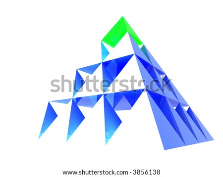 Abstract blue glass pyramid with green top. Concept - leadership, achievement, different and individuality - stock photo
