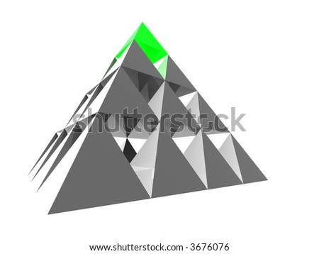 Abstract blue glass pyramid with red top. Concept - stability, achievement and different - stock photo