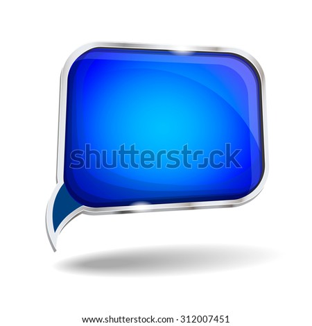 Abstract blue glossy speech bubble  background isolated - stock photo
