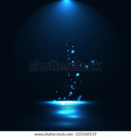 Abstract Blue glowing background with Spotlight rays and glowing particles - stock photo