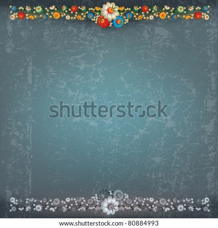 abstract blue grey grunge background with floral ornament