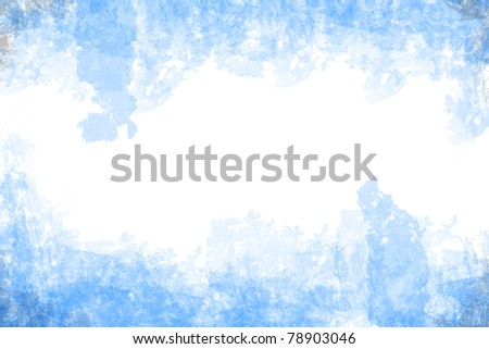 abstract blue grunge style on white paper background - stock photo