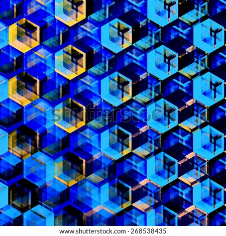 Abstract Blue Hexagons Background. Modern Hexagonal Color Illustration. Geometric Art Texture. Artsy Polygonal Backgrounds. Decorative Mosaic Design. Hexagon Set. Creative Digital Wallpaper. Image. - stock photo