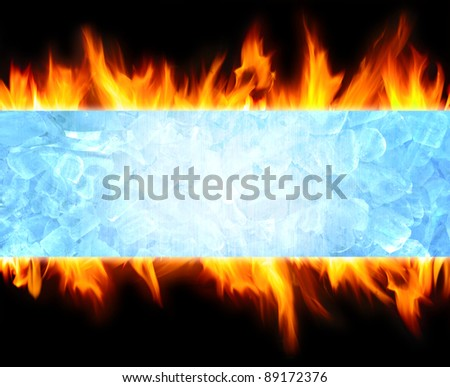abstract blue ice cube and fire flame background - stock photo