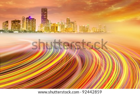 Abstract blue Illustration of an urban highway going to the modern city downtown . Background image of Miami Florida is from my collection. - stock photo