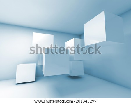 Abstract blue interior with flying cubes. 3d render - stock photo