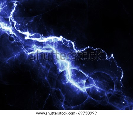 abstract blue lightning over black sky - stock photo