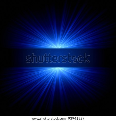 abstract blue lights and dots over dark background - stock photo