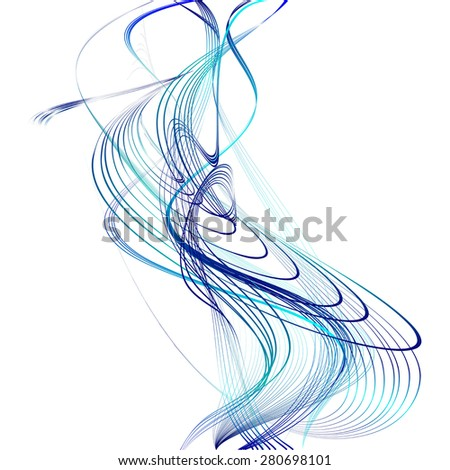 abstract blue line turquoise wave cyan band isolated on white background. raster illustration