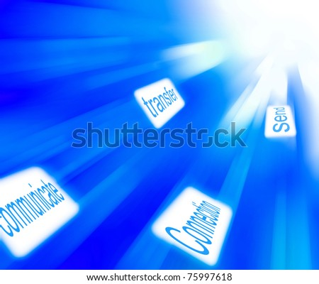 abstract blue link background - stock photo