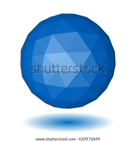 Abstract blue low polygonal sphere made of triangular faces with shadow on white background