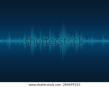 Abstract blue luminous sound waves background for parties, clubs, discos and concerts. - stock photo