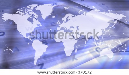 abstract blue map representing technology - stock photo