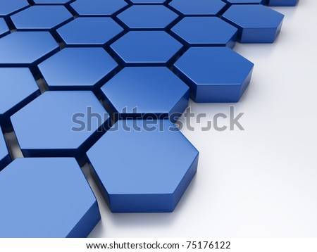 Abstract blue metallic background with hexagons and place - stock photo