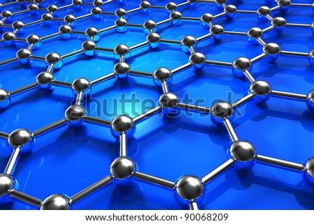 Abstract blue molecular nanostructure model - stock photo