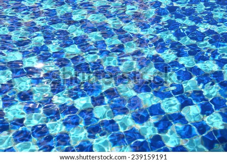 Abstract Blue mosaic tiles of swimming pool water for background - stock photo