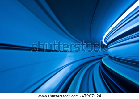 Abstract Blue Motion Curve. - stock photo