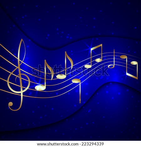 abstract blue musical background with gold notes stave and treble clef - stock photo