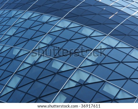 Abstract Blue Office Windows, London, England UK - stock photo