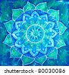 abstract blue painted picture with circle pattern, mandala of vishuddha chakra - stock photo