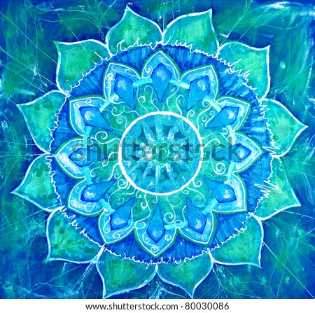 abstract blue painted picture with circle pattern, mandala of vishuddha chakra - stock photo