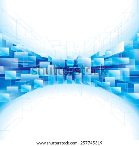 Abstract blue perspective structure background.  - stock photo