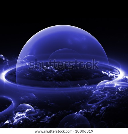 abstract blue planet/bubble with abstract clouds - stock photo
