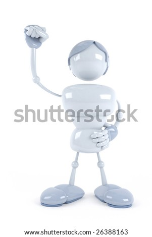 abstract blue robot win - stock photo