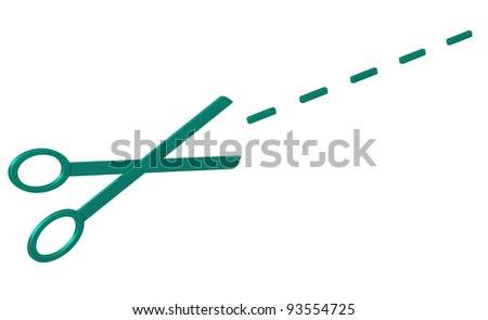 Abstract blue scissors with cut lines 3d - stock photo