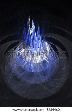 Abstract blue shape in a form of a peak or mountain over black - stock photo