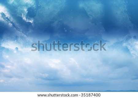 Abstract blue sky. Clear and calm! - stock photo