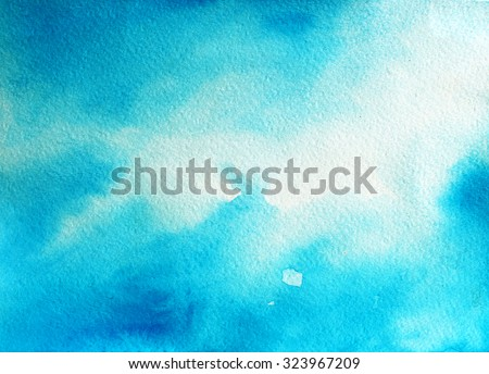 Abstract blue sky watercolor background. Ink illustration. Backdrop for your design. - stock photo