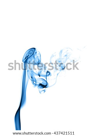 Abstract blue smoke on white background from the incense sticks