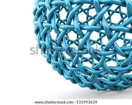 Abstract blue sphere part on white background