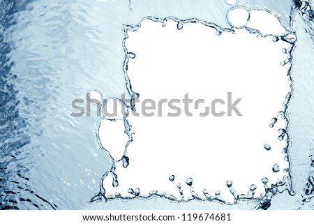 Abstract blue splashing water as picture frame - stock photo