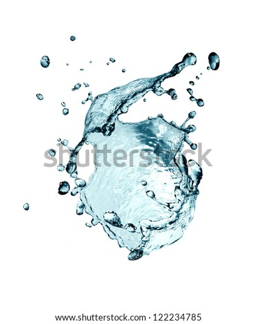 Abstract blue splashing water on white background - stock photo