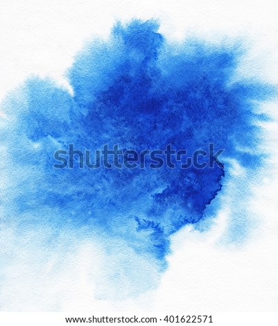Abstract blue spot on white watercolor paper.