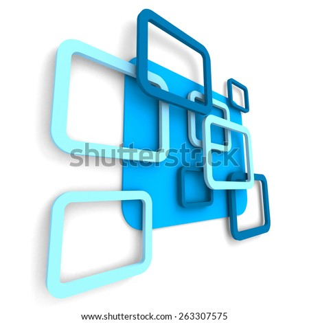 Abstract Blue Square Design Background. 3d Render Illustration - stock photo