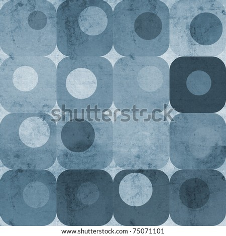 Abstract blue squares and circles - stock photo
