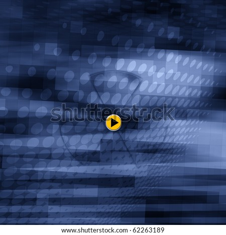 Abstract blue technology design, futuristic background with radiation sign - stock photo
