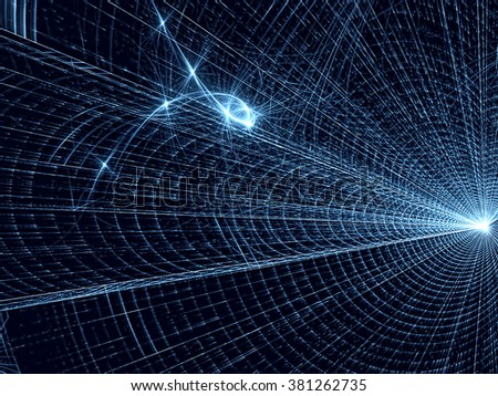 Abstract blue technology style background computer-generated image. Modern fractal artwork tunnel of bright glowing rays. Tech background with lights and dots for covers, banners and web-design. - stock photo