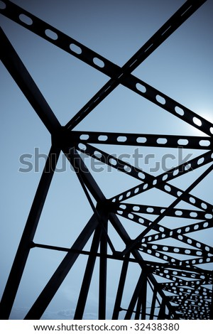 abstract blue toned bridge lines - stock photo